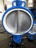 Válvula de borboleta de borracha anti-corrosão PTFE totalmente operada com engrenagem