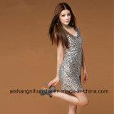Серебряный Mermaid платьев партии Bling приспосабливать Sequined миниые платья выпускного вечера