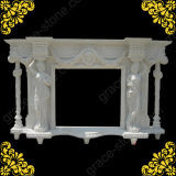 Carving de pedra Fireplace Mantel para Home Ornament (GS-FF-029)