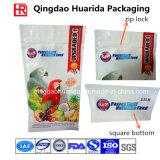 Sac inférieur carré estampé par couleur d'empaquetage en plastique pour l'aliment pour animaux familiers