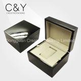 Caixa de madeira envernizada preta altamente lustrosa quente do relógio de pulso da venda