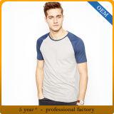 T-shirts faits sur commande de chemise de Raglan de base-ball de coton de Mens