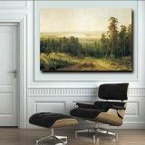 peinture à l'huile 100%Handmade sur la toile, matin dans une forêt de pin