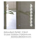 Nuovo specchio d'argento chiaro fissato al muro moderno LED della stanza da bagno