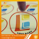 Etiquetas engomadas transparentes redondas de la impresión de la insignia