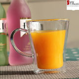 350ml Double Wall Glass Tea Cup mit Glass Lid/Double Wall Glass Thermos Cup mit Silicone Sleeve/Double Wall Glass Coffee Cup