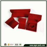 Contenitore di monili su ordinazione dell'anello del velluto di cotone vuoto rosso