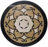 大理石のWaterjet円形浮彫りパターン床タイル
