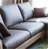Zeitgenössische nordische Art Leder gepolstertes L Form-Sofa
