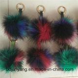 Sfera lanuginosa della pelliccia del cappello del Pompom della pelliccia di Colorfurl sul pendente d'attaccatura dell'automobile del pattino/cappello/capelli