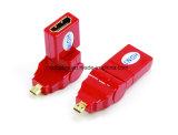 270 graus que giram o micro macho de HDMI ao adaptador fêmea
