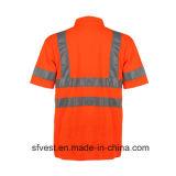 Veste reflexiva do polo da segurança de tráfego da classe 3 com ISO do En da garganta de V