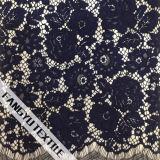 Muito tela de nylon do laço do algodão do teste padrão de flor
