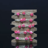 coração de prata da cor-de-rosa do fio do diodo emissor de luz de 4m 40 luzes feericamente a pilhas do micro
