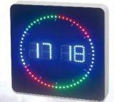 Horloge de mur de DEL avec l'indicateur entourant coloré de DEL deuxième - forme carrée