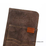 iPhone аргументы за сотового телефона бумажника PU холстины джинсыов кожаный
