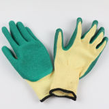 Gants enduits de main de sûreté de latex de doublure de Polycotton de qualité