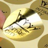 Etiquetas engomadas adhesivas de encargo de la etiqueta del vinilo de la alta calidad material del PVC del color del oro
