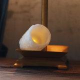 백색 조각품 기둥 불꽃 없는 LED 왁스 초를 밖으로 속을 비게 하십시오