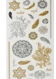 Etiqueta engomada temporal impermeable del tatuaje de la plata metálica del oro de la manera