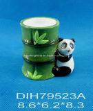 Basamento di ceramica dipinto a mano della candela del panda