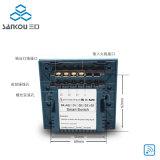 L'one-way à télécommande du commutateur 3gang de panneau en verre blanc commute le commutateur de lampe de mur
