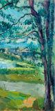 田舎フィールド壁の芸術の大きい木の油絵