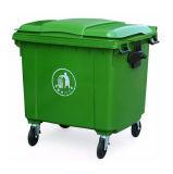 궤 420 리터는 폐기물과 플라스틱 바퀴를 가진 쓰레기통을 재생한다