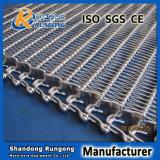 Banda transportadora de Rod del metal de la curva flexible de la vuelta para el alimento de enfriamiento
