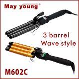 Professional Tourmaline Triplo Barrels LCD Hair Curling Iron