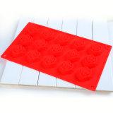 15cav. Цветок Rose сформировал лист торта силикона качества еды