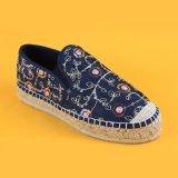 2017 zapatos azules de la plataforma de la alpargata de la flor de las nuevas mujeres