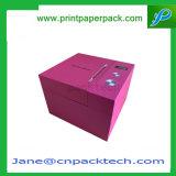 Rectángulo de empaquetado del papel revestido del regalo rígido de lujo de encargo del favor