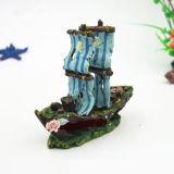 Bateau de décoration d'aquarium rétro pour des ornements de résine de réservoir de poissons
