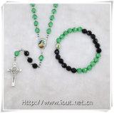 方法宝石類のセットされる一定のビードの数珠の十字の吊り下げ式のネックレス(IOcrs004)