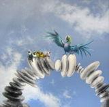 Eindeutige Vögel und Stein-Segeltuch-Drucke