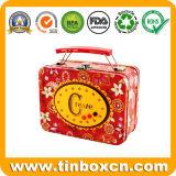 Caja de almuerzo de metal con mango, almuerzo caja de estaño, caja de regalo