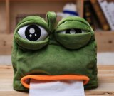 Sad Frog Plush Tissue Box Cover 22X21cm