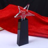 Оптовый кристаллический трофей, пожалование кристаллический стекла для сувенира с звездой