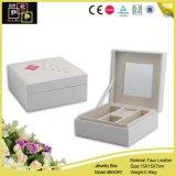 Caixa de empacotamento espelhada popular branca requintado da jóia de couro feita sob encomenda quadrada