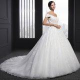 O vestido de esfera que perla a luva do tampão Appliques o vestido de casamento (Z-004)