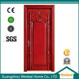Porta de madeira sólida de interior clássico pintado vermelho