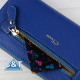 Long de couro Clutch Purse Card Holder Caso para Women