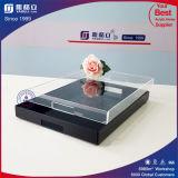 Plateau carré acrylique d'acrylique de vente en gros de plateau de portion estampé par modèle de mode