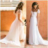 O tampão Sleeves os vestidos nupciais A da praia - linha vestidos de casamento Chiffon Z8049