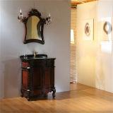 Antiker Art-Fußboden-stehende hölzerne Badezimmer-Eitelkeit mit Spiegel