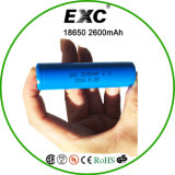 Застегните клетку батареи Exc верхнего Li-иона 3.7V перезаряжаемые 18650 2600