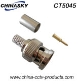 Rg59同軸ケーブルのためのひだの男性CCTV BNCのアダプター(CT5045)