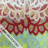 Diseño único amarillo de la tela del cordón