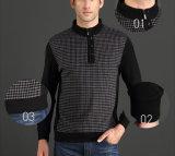 T-shirt matériel raccordé d'hommes de tirette de boutons de collier de stand